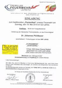 Einladung zum Feuerwehrfest am 19.05.2019